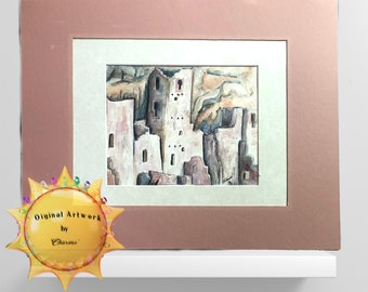 Mesa Verde Cliff Dwelling in Pink Original Watercolor by Artist Charme'/Add a Touch of the West To A Room/Timeless Ruin Has a Modern Look