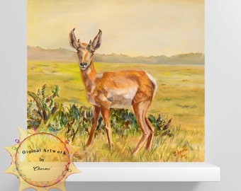Arizona Pronghorn In the Sonora Desert/Bright Yellows Purples And Greens Light Up Any Room/Painting For The Outdoorsman and Animal Lover