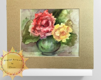 Original Transparent Watercolor /Wild Roses In Green Vase/Add AddColor to Your Room/ Bring the Outside In