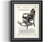Reclining barbershop chair in hair dressing position, vintage reproduction print from 1885 Barber 39 s Reference Book by Gustav Knecht 0153