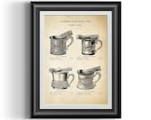 Art Nouveau shaving brush and shaving mug advert reproduction vintage wall art, 1800s shaving scuttle bowl and brush wall decor print