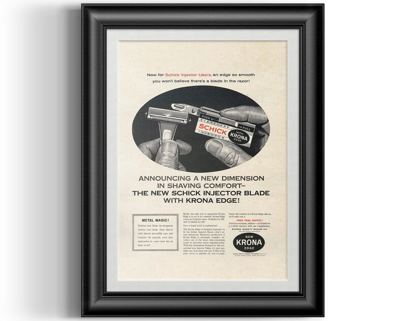 Schick Injector Blades with Krona Edge advert reprint, remastered and  cleaned barber shop man cave and shave den wall poster P0008
