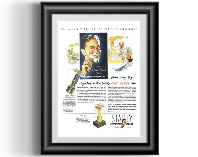 Vintage Stahly live blade safety razor magazine advert retro poster print,  perfect for your shop, bathroom or fathers gift P0072