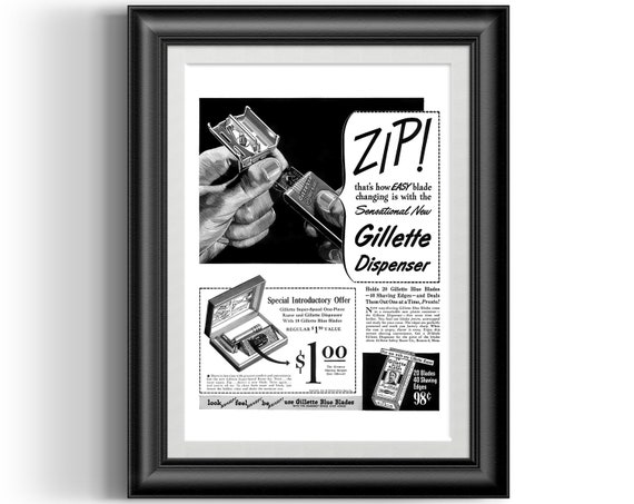Wall art. Old Shaving blades advert Reproduction poster Gillette