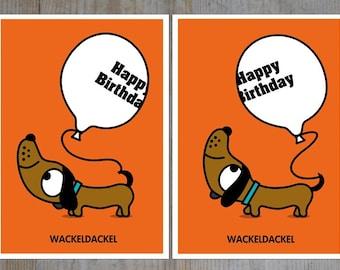 Wobbly Dachshund card