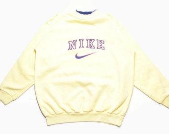 b86a22a32eac Jahrgang seltene 90er Jahre authentische NIKE großes Logo Sweatshirt Größe  M Herren 80er Jahre Rave Pullover Hipster retro hip Hop übergroße Schweiß  swoosh ...
