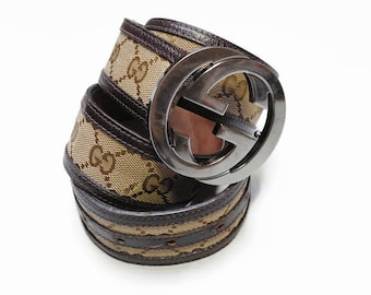 0025cec47593 authentic GUCCI real leather and canvas monogram brown belt vintage style  made in ITALY 114876-214351-85-34 luxury accessories rare retro