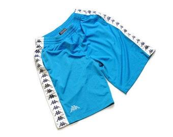 0c5302c442e6 Vintage pista KAPPA pantaloncini taglia L nero blu grande autentico anni    90 80s soddisfare rave athletic retrò di trackshorts hipster grande logo di  ...