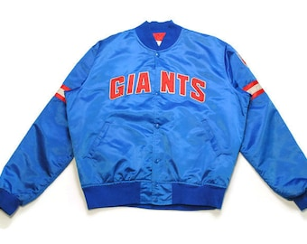 aa7baefa3 vintege NEW YORK GIANTS football authentic bomber jacket Size L mens red  big logo blue nyc ny nfl 90s 80s Pro Line Athletic Sport Team retro