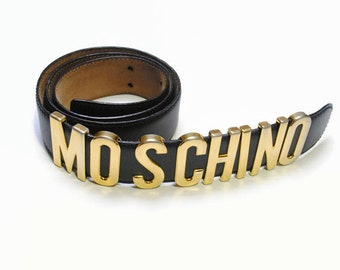 614eefc5d1b vintage MOSCHINO authentic women's real leather waist belt gold letter  black rare retro 90s 80s redwall original geniuse unique womens vntg