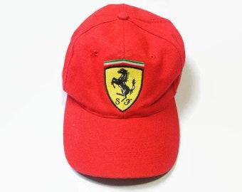 794bfba203a53 vintage FERRARI Michael Schumacher 1996 mens Baseball Cap Hat One Size red  black Big logo Trucker authentic race team retro 90s F1 Formula 1
