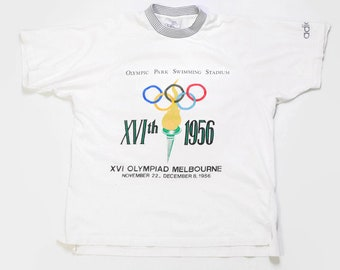 5d4b4c95000f 1956 vintage 16 OLYMPIAD MELBOURNE AUSTRALIA OLympic Games 1956 Adidas  authentic t shirt Size L collection rare sport rave white tee retro