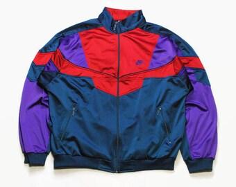 0dc401b1db0e2 Vintage NIKE authentique Track Jacket taille L/XL rouge bleu rare rétro  rave hipster sport athlétique des années 90 des années 80 Casual hip hop en  cours ...