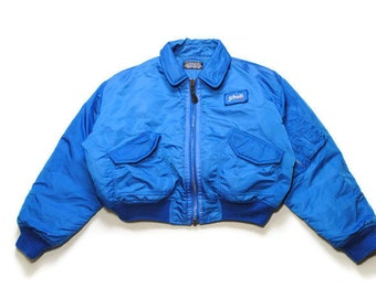 vintage SCHOTT N.Y.C. Flyer s woman Jacket cwu-r blue pocket necked zipped  bomber intermediate MA1 Size M retro USA AIR Force authentic s c3fe37b84f12