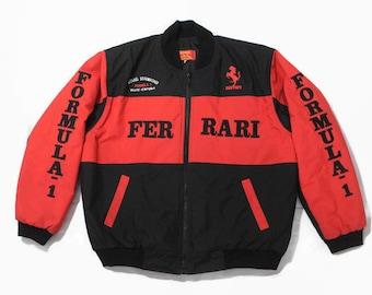 vintage FERRARI Michael Schumacher mens warm Bomber Jacket Size M red black  authentic race team zip rare retro 90s big logo F1 Formula 1 vtg 6d93b6689915