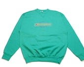 vintage CHAMPION sweatshirt SIZE L big logo 90s acid casual made in USA green retro rave rare hipster sweater authentic 80s mens unisex wear