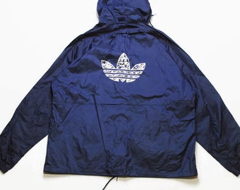 3f075948f618 vintage ADIDAS ORIGINALS Raincoat Jacket authentic navy blue big logo hooded  parka streetwear 90s 80s rare retro hipster outfit mens Size L