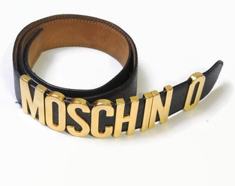 6b525aac14c vintage MOSCHINO authentic women's real leather weist belt gold letter  black rare retro 90s 80s waist original geniuse unique womens vntg