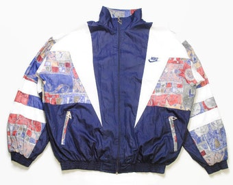 9dbf1da2d48 vintage NIKE track jacket Size M bootleg blue rare retro rave hipster sport  athletic 90s 80s casual hip hop running streetwear small logo