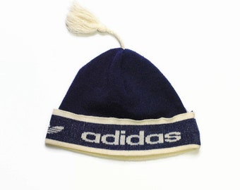 d85c857b6b972 vintage ADIDAS ORIGINALS retro knitted wool hat collectable ski sport  hipster made in Western Germany authentic navy blue beige 80s wear cap