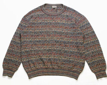 47750ade4a vintage MISSONI SPORT made in Italy Size L 54 mens authenitc knitted  sweater oversized 90s 80s retro hipster rare streetwear luxury rainbow