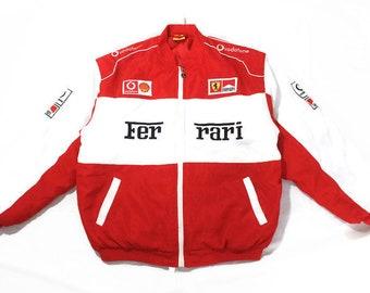 vintage FERRARI Michael Schumacher mens warm Bomber Jacket Size XL red  white authentic race team zip rare retro 90s big logo F1 Formula 1 5080251c4bbc