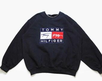 b8bedfb977d vintage TOMMY HILFIGER big logo sweatshirt Size L XL men s navy blue rare  retro rave hipster clothing hip hop wear streetwear 90s 80s sport