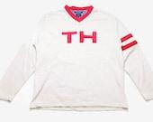 vintage TOMMY HILFIGER big logo sweatshirt Size XL oversized men 39 s rare retro hipster sweater cardigan V neck collar gray red 90s 80s sleeve