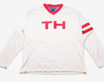 cf4e388a6 vintage TOMMY HILFIGER big logo sweatshirt Size XL oversized men's rare  retro hipster sweater cardigan V neck collar gray red 90s 80s sleeve