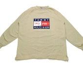 vintage TOMMY HILFIGER big logo sweatshirt Size L XL men 39 s beige rare retro rave hipster clothing hip hop wear streetwear 90s 80s sport th
