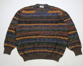 vintage MISSONI SPORT made in Italy Size L 54 mens authenitc knitted sweater oversized 90s 80s retro hipster rare streetwear luxury rainbow