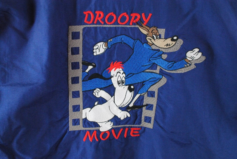 vintage DROOPY Movie Jacket big embroidery logo Tex Avery Aventures Studio wear Size ML blue retro collection hipster 90s cartoon cinema