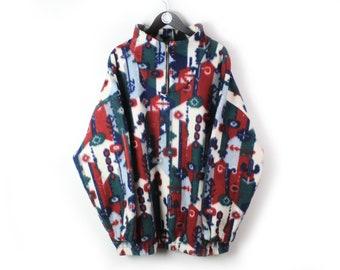 vintage MULTICOLOR FLEECE Sweater men's Size XL authentic 1/4 zip sweatshirt 90s retro winter abstract pattern outdoor ski wear mountain