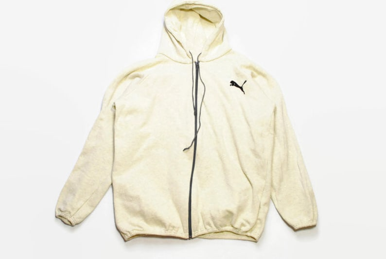 0328ec8ea8877 vintage PUMA mens beige Hoodie made in France 80s authentic rare retro  sweat with hood Size M/L hipster rave sweatshirt 90s running athletic