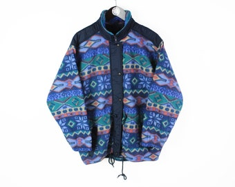 vintage FLEECE Sweater Size S retro hipster wear men's 90s mountain winter warm outfit clothing full zip snap button abstract pattern style