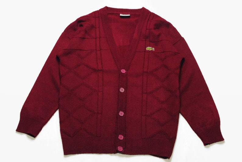 30b449051ce69 Vintage LACOSTE Cardigan authentic sweater knit wear knitted