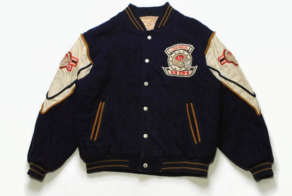 vintage 59ERS varsiry jacket bomber mens Size M authentic rare retro rave big logo nfl la los angeles USA warm winter snap buttons 90s 80s