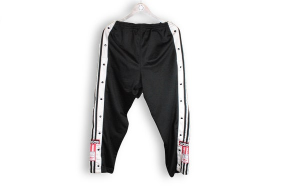 vintage ADIDAS men's Track button Pants black whit