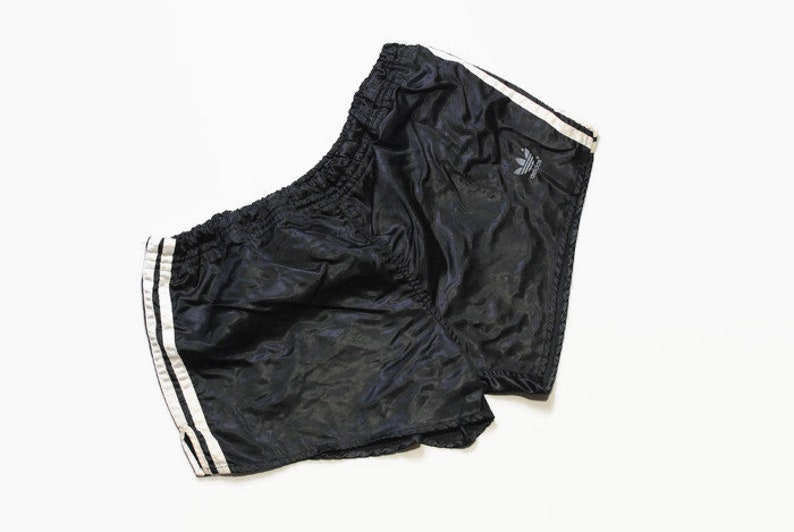 vintage ADIDAS ORIGINALS track shorts SIZE L black white made in West Germany authentic 90s 80s suit sport brand three strips activewear