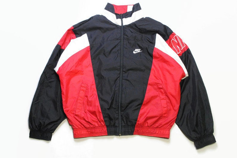 vintage NIKE authentic track jacket Size M red black rare retro rave  hipster sport athletic 90s 80s casual hip hop running streetwear logo