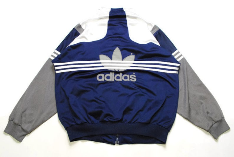 vintage ADIDAS ORIGINALS big logo navy blue Track Jacket Size L authentic rare retro hipster 90s 80s germany rave athletic sport suit acid