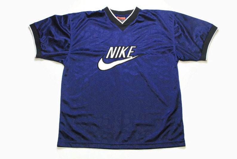 54176cffe2d06 vintage NIKE big logo authentic T-Shirt navy blue polyester athletic tee  retro 90s 80s rare Size XL sport outfit top rave hip hop style USA