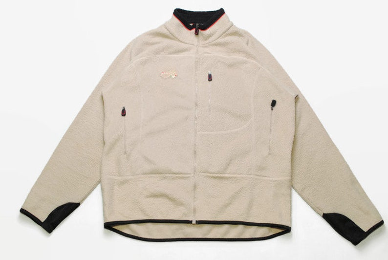 vintage FILA big logo FLEECE men's Size XL beige winter authentic sweater hoodie 90s 80s rare retro hipster half zip hip hop zipped rave