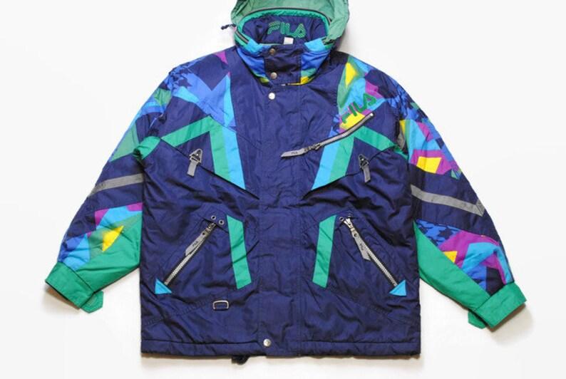 vintage FILA SKI Team Italia Jacket Thermore Energy Saving Entrant Coat  Jumpsuit size S authentic 90s 80s 70s retro hoodie acid colorway vtg