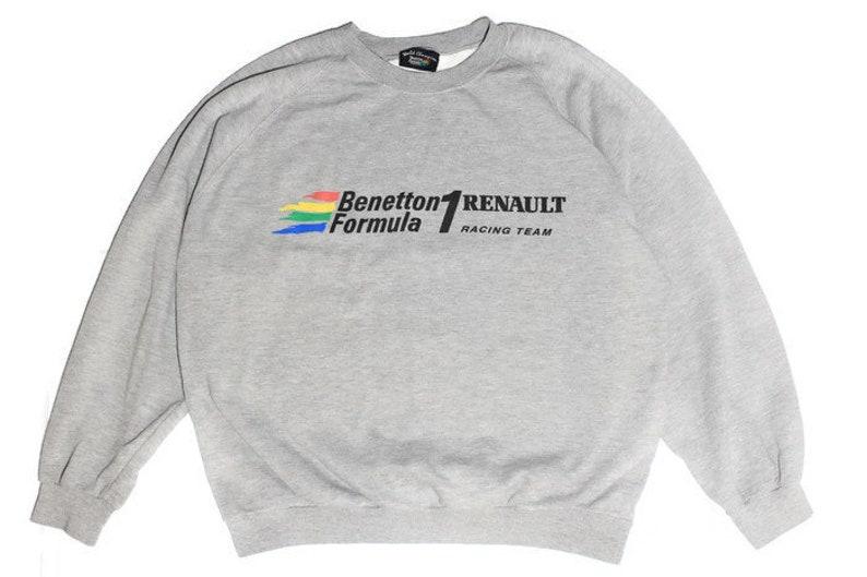 90450a872e vintage BENETTON FORMULA 1 gray big logo sweatshirt Size M L