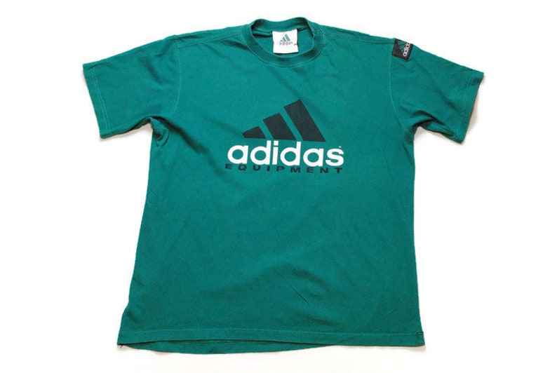 6906f5052c09f vintage ADIDAS EQUIPMENT men's t-shirt green big logo Size XL oversized  unisex rare retro Germany hipster wear sport clothing 90s 80s basic