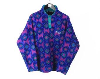 vintage FILA Magic Line FLEECE Sweater men's Size M jumper 1/4 snap button crazy wild pattern 90's rare retro ski cozy sweatshirt winter