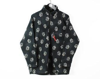 vintage JACK WOLFSKIN Fleece Sweater paws monogram Size M men's 1/4 zip black pullover outdoor winter warm retro 90's ski style mountains