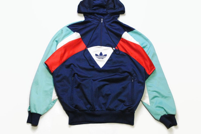 vintage ADIDAS ORIGINALS mens Nylon Hoodie authentic rare retro sweat with hood Size SM navy hipster rave sweatshirt 90s 80s running outfit
