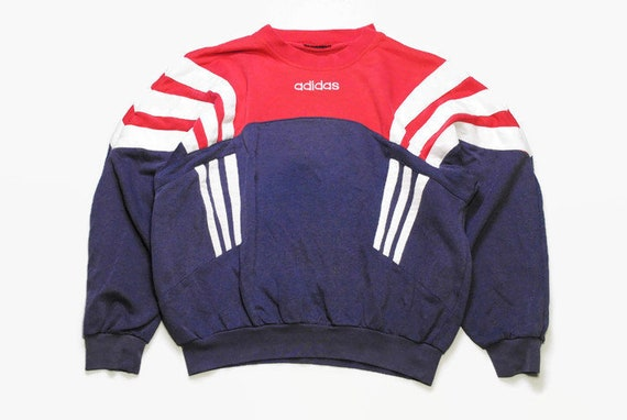 606cf74a79824 vintage ADIDAS ORIGINALS men's sweatshirt authentic rare retro sweat logo  Size S/M blue red hipster rave sport wear 90s 80s running outfit